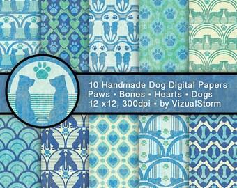 Dog Digital Paper Pet Scrapbooking Background Patterns Paw Prints Hearts Bones Pet Memorial Paper Green Blue Printable Dog Lover Paper Pack