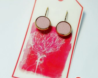 Earrings - a dream in gold & Rosé leather