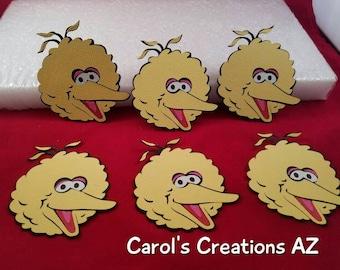 6 Big Bird Die Cuts / Big Bird Die Cuts / Sesame Street Die Cuts / Big Bird Birthday Party / Big Bird Party