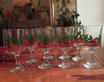Beautiful Vintage Christmas Glass Stem Cups Hand Painted Holly Set of Eight