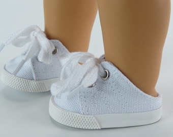 White Slip On Tennis Shoes, Cheer Shoes for 18 Inch Doll