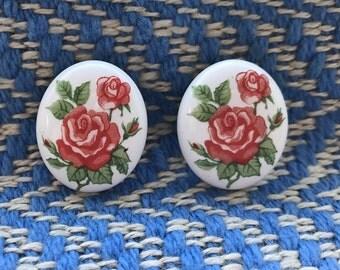 Vintage Red Rose Earrings. Vintage Botanical Earrings. Vintage Rose Stud Earrings. Valentine's Day Earrings. English Rose Earrings.