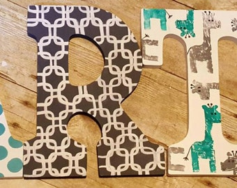Wooden Nursery Letters Handpainted to match Room Decor, 9 inch Painted Wood Letters for Kids Room or Nursery, Bedroom Decor Wall Hanging.
