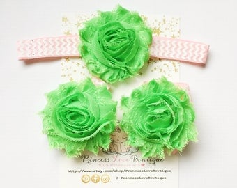 3pcs set ! Baby Barefoot Sandals and Matching Headband,Baby Shoes,Baby Sandals, Baby Shabby Chic Flower Sandals, Baby Headband & Sandals Set