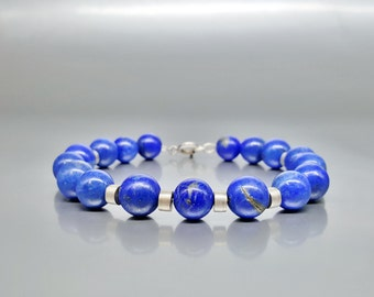 Mens Bracelet Lapis Lazuli Beads with Sterling silver/Genuine Gemstone/Designer Bracelet/Healing Stones/Men jewelry/Men Bracelet/Blue/Silver