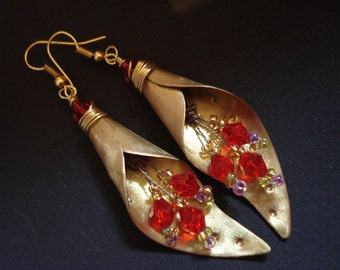 Hammered Bronze Bouquet Beaded Contemporary Earrings Matte Faced  Gold Earrings Crystals Dangle Big Earrings