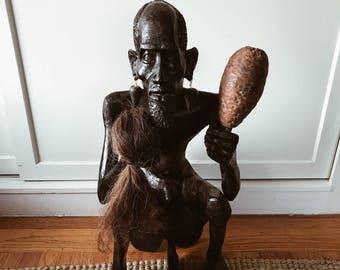 vintage african wood carving/wooden sculpture of man/hand carved wooden african sculpture/african art/vintage african sculpture