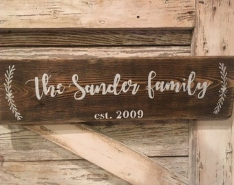 Last Name Established Sign//Welcome Sign// made from Reclaimed Wood