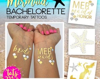 Tats4now, Mermaid bachelorette party favor, beach wedding tattoo, last splash party fun, mermaid bridesmaid, mermaid of honor