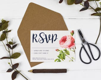 Wedding RSVP Card - English Garden - Wedding Stationery - Wedding Reply Card - Printed or DIY Printable Download - Personalised - Floral