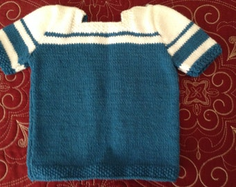 Hand Knitted Girls Teal/ White Short Sleeves Top 12 Months
