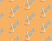 The Jetsons Logo in Orange - Camelot Fabrics - Cotton fabric - Choose your cut