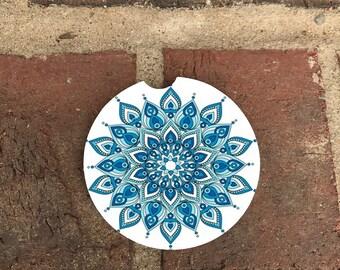 Custom Blue/Green Mandala Sandstone Auto Cup Holder Coasters (set of2)  Personalized Custom Car Coasters (set of2)Gift Ideas