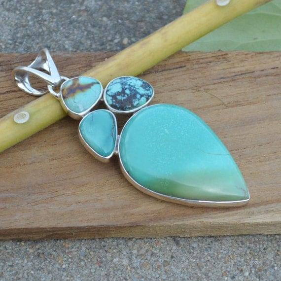 Natural Tibetan Turquoise Pendant, Green Gemstone Pendant, Set In Sterling Silver Jewelry, Solitaire Pendant, Designer Silver Pendant