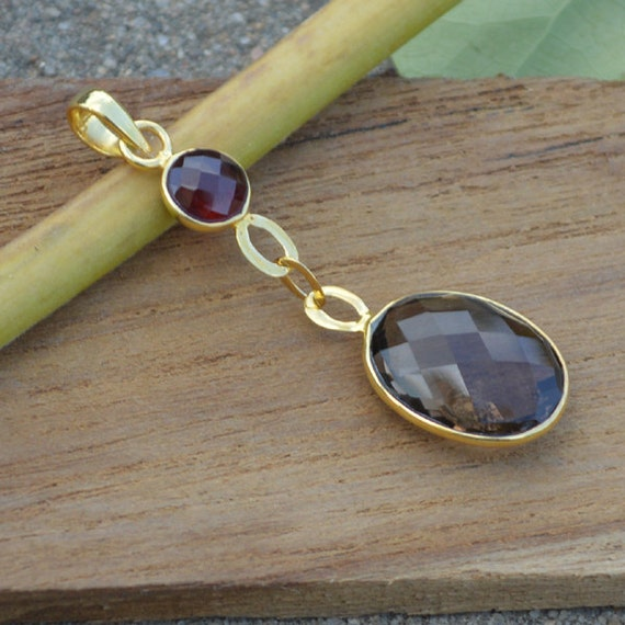 Natural Smoky Quartz Pendant,  Solid Sterling Silver Gold Overlay Smoky, Garnet Pendant, Mothers Day Gift Pendant, Sterling Silver Jewelry