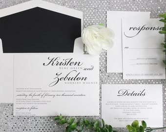 Elegant Wedding Invitations, Black and White Wedding Invitations, Modern Wedding Invitation, MODERN, DEPOSIT to get started