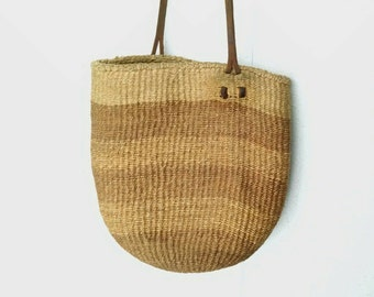 Sisal Shoulder Bag - Farmers Market - Leather Strap - Natural Fibers