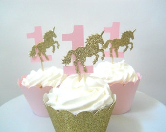 Unicorn First Birthday Decorations Unicorn Cupcake Toppers Unicorn Birthday Decorations Pink and Gold Unicorn Party Girl First Birthday
