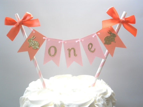 Some Bunny Is One Smash Cake Topper Blush and Coral Bunny Topper