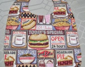 Adult Bib, Diner Theme Bib