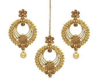 Gold Plated Indian Bollywood Tikka Headpiece Earring Set/Wedding Bridal set