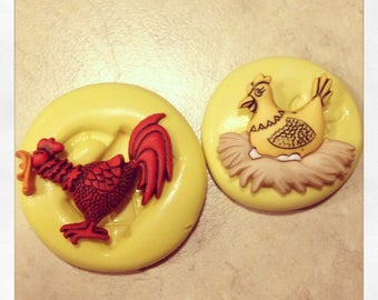 Hen and Rooster Chicken Set Silicone