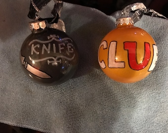 Clue game glass ornaments