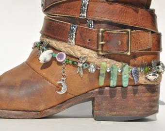 Green Agate Stone Beaded Boot Bracelet