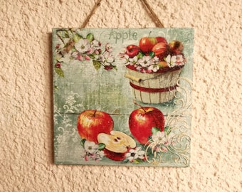 Decoupage picture,Shabby Chic picture,retro,rustic,wall decor,cottage,plaque,red apple,garden,white spring flower,blossom,kitchen,cuisine