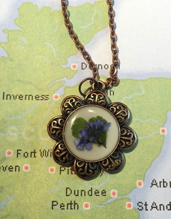 Outlander Scottish Bluebell Necklace - Antiqued Gold or Copper - Claire Jamie Gabaldon Scotland FT17