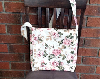 LADIES MESSENGER BAG,  pink floral cross body purse, shoulder bag, medium totes, accessories women