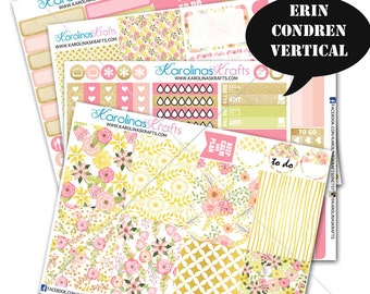 Pink Blush Gold Floral Stickers, FloralPlanner Kit 200+ Flower Planner Stickers, for Erin Condren Planner stickers #SQ00662-ECV