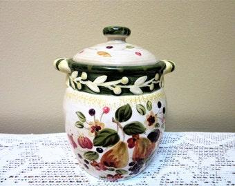 Sale Canister Air tight Fruit Design Ceramic Pottery Pamela Gladding La Toscana