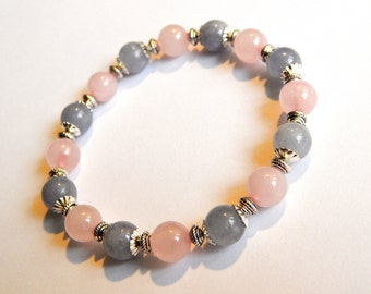 Bracelet navy and rose quartz