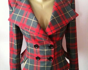 Tartan tailored jacket/vintage plaid jacket// Check lady blazer/Fitted coat