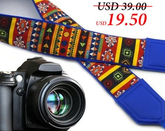 Aztec Camera strap. Blue Tribal camera strap. Multi-color ethnic Camera strap.  DSLR Camera Strap. Camera accessories by InTePro