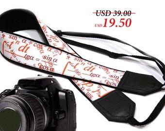 Math  camera strap. Black red and white Camera strap. DSLR / SLR Camera Strap. Camera accessories. Geometric. Formula