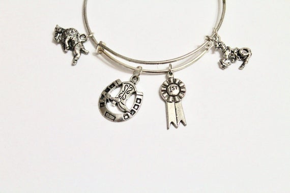 Rodeo Themed Expanding Bangle Charm Bracelet, Gift For Her, Rodeo Jewelry, Girlfriend Gift, Rodeo Bracelet, Jewelry Gift, Country Girl Gift