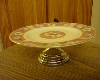 Vintage Cake Stand. Single tier cake stand. Pink and White Cake Stand. Bone China Cake Stand by Heathcote Made in England