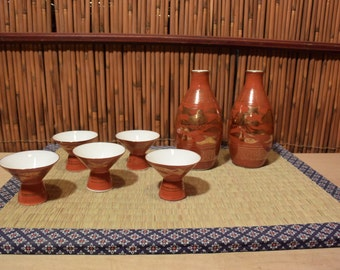 Japanese Porcelain Sake Set of 5 Cups Antique Red Gold Handpainted