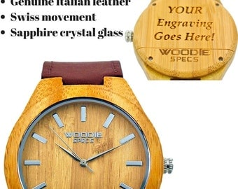 Handcrafted men's bamboo watch. Upgraded with sapphire glass, Swiss movement, and burgundy Italian leather. FREE custom engraving!