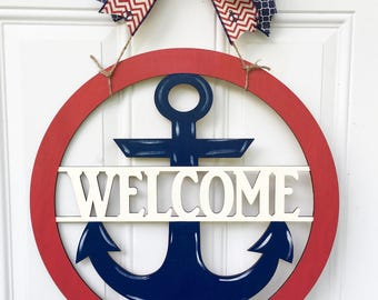 Welcome door hanger, anchor door hanger, patriotic door hanger, lake house door hanger, anchor decor, beach house decor, beach house