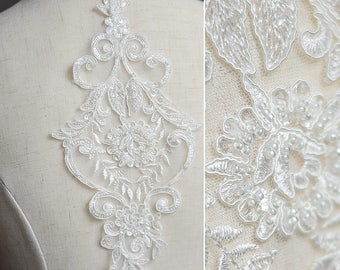 Hot Sale Ivory Beaded Alencon Lace Applique For Wedding Dress, Lyrical Dance Cute Style By One Piece