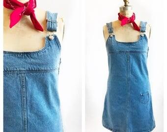 1990's Gasoline denim overall jumper dress. Size S.
