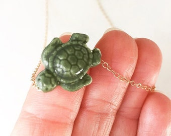 Turtle Necklace Turtle Charm Necklace Tropical Necklace Sea Turtle Necklace Animal Charm Necklace Beach Jewelry Friendship Necklace