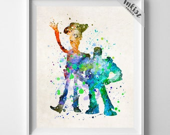 Toy Story, Buzz and Woody, Toy Story Art, Buzz Watercolor, Baby Boy Nursery, Woody Watercolor, Artwork, Nursery Wall, Type 2, Gift For Him