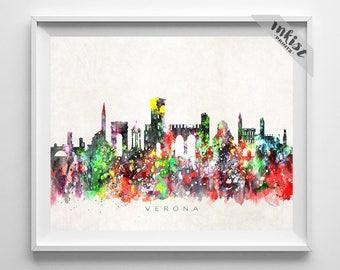 Verona Skyline Print, Italy Print, Verona Poster, Italy Cityscape, City Art, Watercolor Art, Wall Decor, City Skyline, Christmas Gift