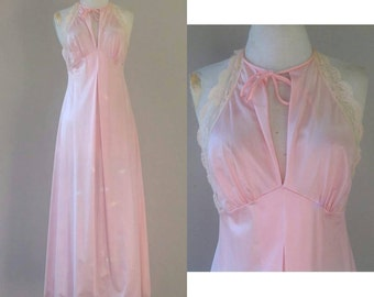S / 1960's Gilead Nightgown Lingerie / Long / Pink Nylon with Lace / Small / FREE USA Shipping
