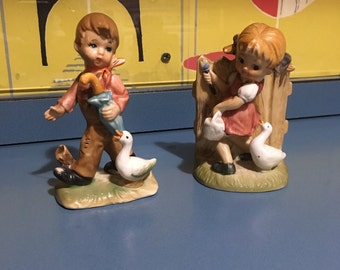 Retro Vintage Kitsch Figurines Boy and Girl ducks (not Hummel/Goebel)