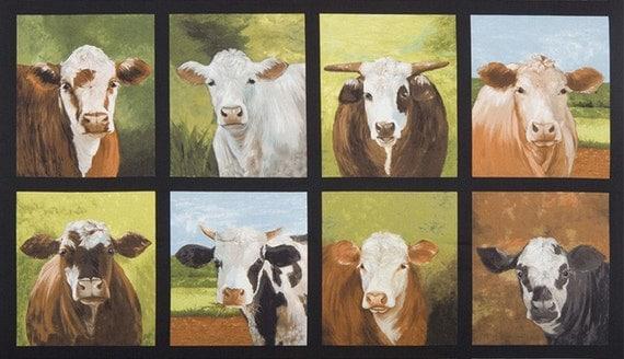 Cows Quilt Fabric Panel Robert Kaufman Down On The Farm